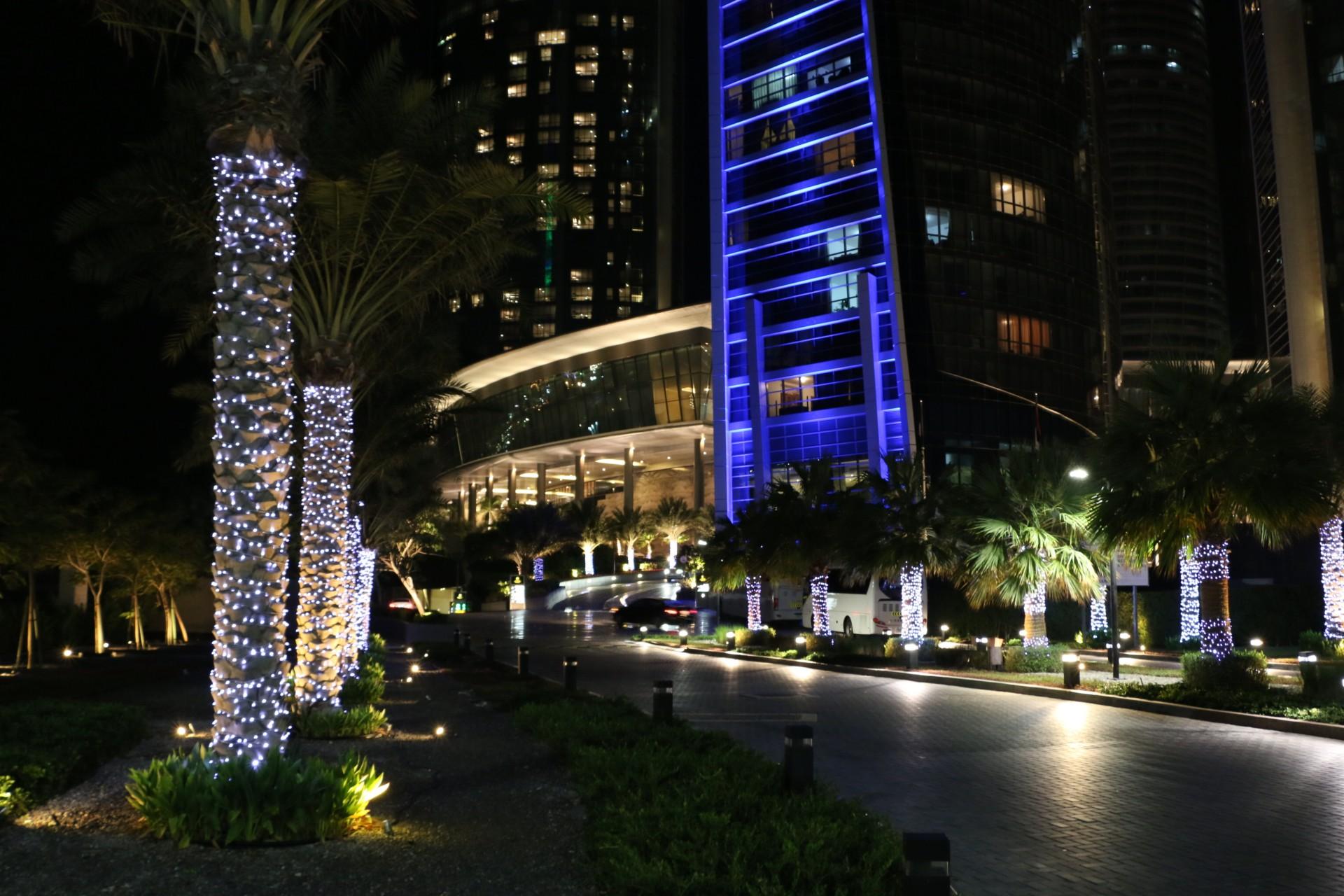 Etihad Towers by night.